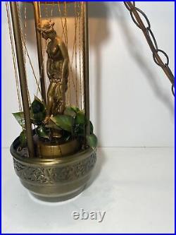 Vintage 1970 Hanging mineral Oil Rain Lamp Nude Lady Greek Goddess RARE