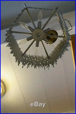 Vintage 1970's Original Mid Century Modern Brutilist Chandelier Hanging Lamp