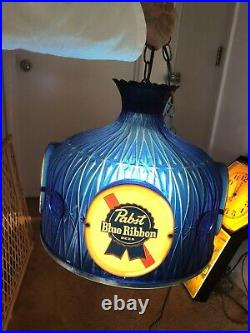 Vintage 1970's Pabst Blue Ribbon Beer Hanging Lighted Lamp Shade