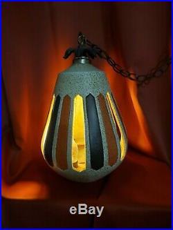 Vintage 1970's Swag Pendulum Hanging Lamp teardrop brown orange retro 70's