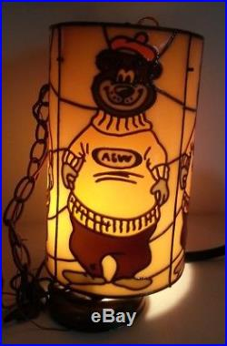 Vintage 1970s A&W Root Beer Bear Hanging Plastic Cylinder Swag Lamp Light RARE