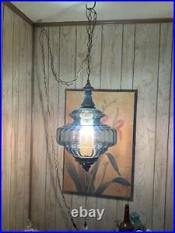Vintage 1970s Blue Glass Hanging Swag Lamp