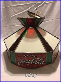 Vintage 1970s Coca-Cola Lamp Stained Glass Ceiling Hanging Light