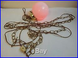Vintage 1970s Mid Century Hanging Chain Lamp Light Shade Flower Power Boho Hippy