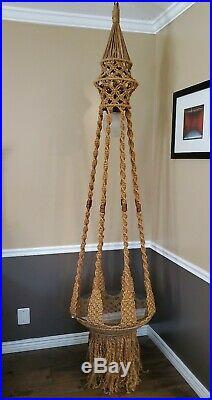 Vintage 1970s Mid-Century Modern MCM Macrame Hanging Floating Glass Table Lamp