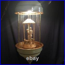 Vintage 1970s Oil Rain Lamp Couple Dancers in Gazebo Hanging Restored RARE