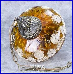 Vintage 1970s Swag Lamp Amber Globe Hanging Mid Century Modern