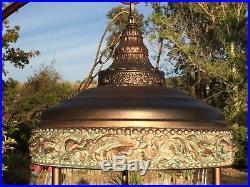 Vintage 1974 MID Century Goddess Oil Rain Hanging Lamp Total Refurbish Large 36