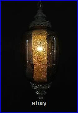 Vintage 22 Mid Century Crackle Amber Hanging Ceiling Light/Swag Lamp FX174