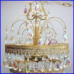Vintage 25 Brass Crystal 3 Tier Ceiling Chandelier Lamp Hanging Waterfall Light
