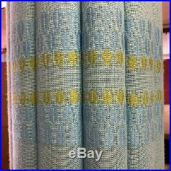 Vintage 26 Blue Pleated Fabric & Teak Wood MCM Hanging Swag Lamp Mid Century