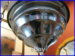 Vintage 28 Swag Hanging Light Rain Oil Nude Lady Goddess Pillar Lamp