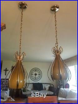 Vintage 2 Large Teardrop Swag Hanging Lamp Lights 1960s Retro