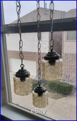 Vintage 3 Glass Nonaganal Swag Hanging Light/Lamp Clear/Mild Golden Hue 1ofAkind