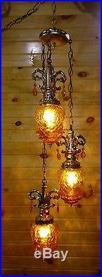 Vintage 3 Globe Swag Hanging Light/Lamp Amber/Orange Crackle Glass Ornate
