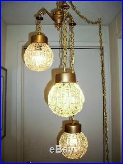 Vintage 3 Light Clear, Cut Glass, Hanging Swag Lamp, Retro, Hollywood, Exc Cond