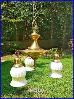 Vintage 3 Light Hanging Pan Lamp Chandelier 3 Glass Shades White Frost Ornate