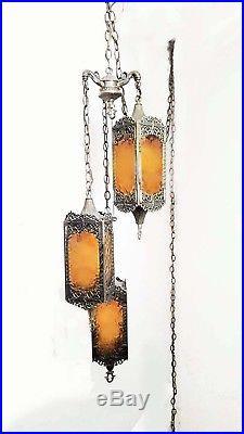 Vintage 3 Tier Hanging Gothic / Moroccan Dark Amber Swag Lamp
