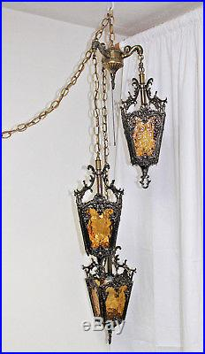 Vintage 3 Tier Hanging Hollywood Regency MCM Gothic Moroccan Amber Swag Lamp