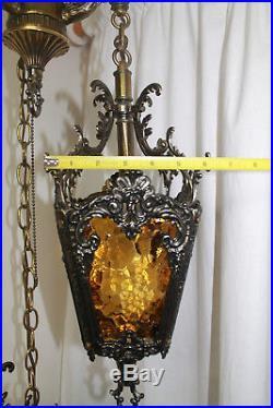 Vintage 3 Tier Hanging Hollywood Regency MCM Gothic Moroccan Amber Swag Lamp