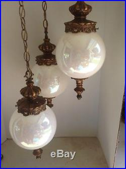 Vintage 3 Tier Hollywood Regency Pearl White Iridescent Swag Hanging Lamp Light