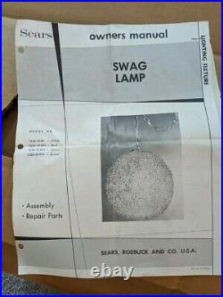 Vintage 40 Swag Globe Lamp Hanging Sears 1970's Bright Orange Original Box