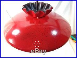 Vintage 50's 60's Mid Century Modern Hanging Swag Lamp Flying Saucer UFO RED