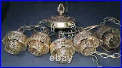 Vintage 5 Swag Hollywood Regency Gold Metal Glass Crystal Hanging Swag Lamp