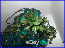 Vintage 60's and 70's Lucite Blue and Green Grapes Hanging Lamp