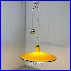 Vintage 60s 70s Harvey Guzzini suspended light lamp yellowithmustard excellent
