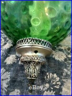 Vintage 60s Mid Century Modern Avocado Green Glass UFO Swag Hanging Lamp Light