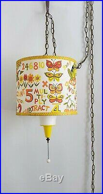 Vintage 70's Hanging Lamp Light Swag Retro Childs Room Math Dogs Flowers Bunny