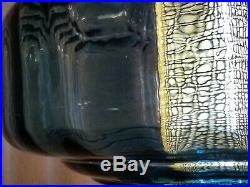 Vintage 70's Solid Blue Optic Blown Glass & Prism Hanging Swag Lamp