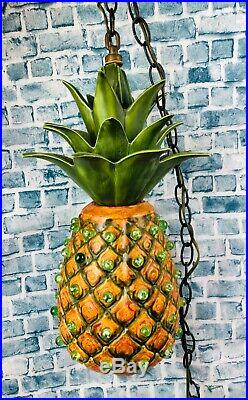 Vintage 70s Funky Quirky Pineapple Marbles Hanging Chain Swag Light Lamp Repair