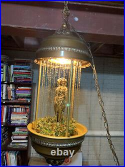 Vintage 70s Hanging Mineral Oil Rain Lamp With3 Gold Goddess Statue Mint