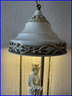 Vintage 70s Hanging Oil Rain Lamp Nude Lady Greek Goddess RARE