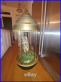 Vintage 70s Lrg 3 Goddess Hanging Swag Rain Oil Lamp 36 Tall Tested & Working