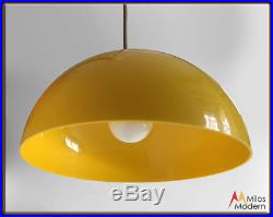 Vintage 70s Mid Century Modern Mod Yellow Lucite Hanging Light Lamp Fixture NICE