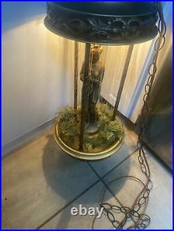 Vintage 70s Oil Motion Rain Lamp Goddess Woman Lady Hanging Light Statue