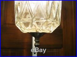 Vintage 70s Retro Hanging Swag Lamp Light Chandelier Fixture Hollywood Regency