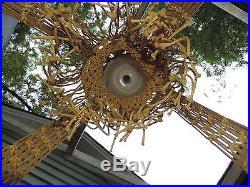 Vintage 8 foot macrame hanging table Boho mid century MCM swag lamp handmade