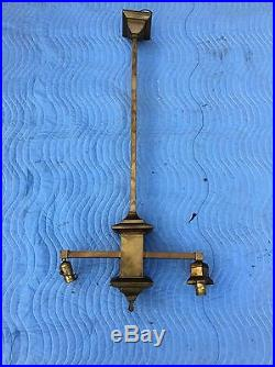 Vintage ARTS & CRAFTS MISSION Brass Chandelier Hanging Light Lamp Slag Fixture