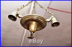 Vintage ART DECO Ceiling Light Lamp Fixture Pendant 3 LT hanging chandelier 14