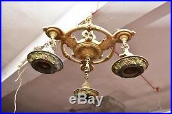 Vintage ART DECO Ceiling Light Lamp Fixture Pendant 3 blb hanging chandelier 13