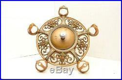 Vintage ART DECO Ceiling Light Lamp Fixture Pendant Brass hanging chandelier 15