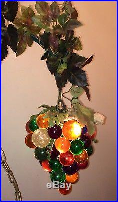 Vintage Acrylic Grape Swag Hanging Lamp Light Multi-Colored Re-Wired