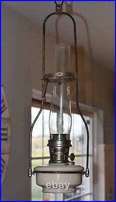 Vintage Aladdin Cream Glass Kerosene Oil Lamp Model B Hanging Lamp with Chimney