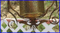 Vintage Aladdin Style Brass Lamp with Milk Shade Kerosene Oil Hanging Electric