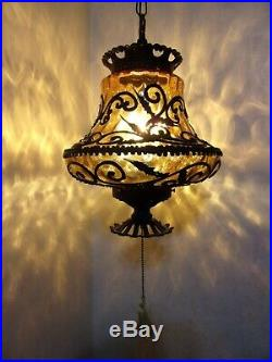 Vintage Amber Art Glass Swag Hanging Lamp Mid-Century STUNNING