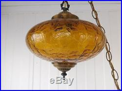 Vintage Amber Crackle Crinkle Glass Hanging Space Age Swag Lamp MID Century Mod